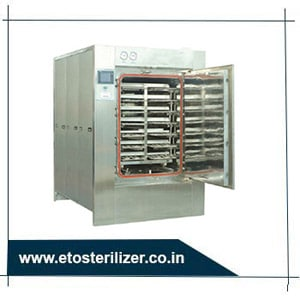 ETO Sterilizer for the Sterilization of syringes, dialysis cartridges, catheters, plastic dressings, sutures and so on.